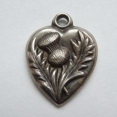 Victorian Sterling Silver Puffy Heart Charm ~ Repousse Thistle Flower ~ 'Wood'
