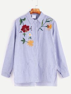 Blue Striped Flower Embroidered Slit Side High Low Shirt — € color: Blue  size: one-size