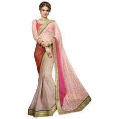 Peach Colored Embroidered Faux Georgette Party Wear Saree Triveni