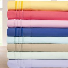These soft microfiber sheets are available in an array of vibrant spring and summer colors. These sheets are conveniently machine washable.