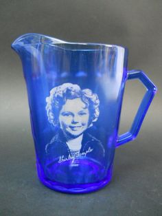 Vintage Shirley Temple Cobalt Depression glass