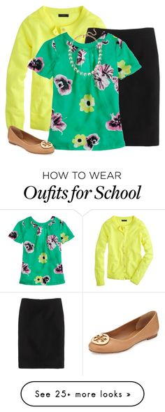 """Springtime school outfit"" by jadeelizroberts on Polyvore featuring mode, J.Crew et Tory Burch"