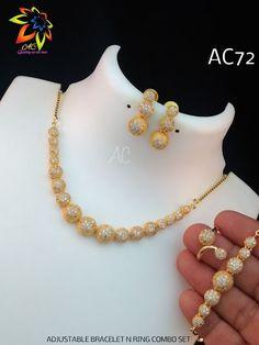 Gold Bangles Design, Gold Earrings Designs, Gold Jewellery Design, Necklace Designs, Gold Necklace Simple, Gold Jewelry Simple, Necklace Set, Blauj Design, American Diamond Jewellery