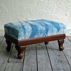 Hand Dyed Indigo Shibori Covered Ottoman Footstool by territoryhardgoods and Riverside Tool and Dye, $325.00