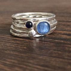 Saphir-Ring, blauer Stein Stapeln Ring Set, Stapeln Ringe Edelstein, Saphir Setzring, blauen Stein Stapler Ring, blauen Edelstein Ringe