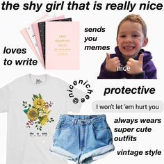 Pin by Buttercup Elliott on Fashion in 2020 Shy Girls, Girls Life, Aesthetic Fashion, Aesthetic Clothes, Outfits For Teens, Cute Outfits, Aesthetic Memes, Girl Advice, School Routines