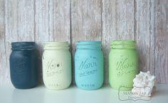 tooooo cute! Navy and Mint Wedding Mason Jars Painted by themasonjarcompany, $24.00