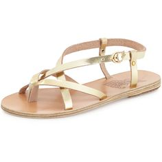 Ancient Greek Sandals Semele Strappy Flat Sandal (840 PLN) ❤ liked on Polyvore featuring shoes, sandals, flats, sapatos, gold, flat pumps, ankle strap platform sandals, strappy flat sandals, strappy flats and t-strap flats