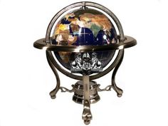 "10"" Tall Blue Lapis Ocean Tripod Silver Table Stand Gemstone World Map Globe by Unique Art Since 1996. $75.99. Globe Diameter 6"" or 150mm. Unique_art4you with twin lion trademark is the only legal distributor for us at Amazon.com. Blue Lapis Ocean. Gemstones from all over the world. This unique gemstone globe is brand new and in perfect condition. It is painstakingly handcrafted by the most talented artists by, using more than 30 different semi-precious gemstones from all o..."