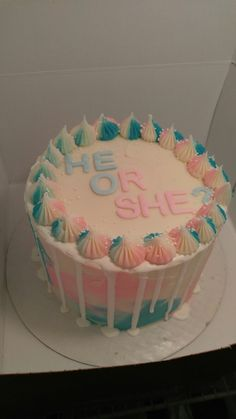 Gender reveal Baby Reveal Cakes, Celebration Cakes, Gender Reveal, Birthday Cake, Baking, Desserts, Food, Shower Cakes, Tailgate Desserts