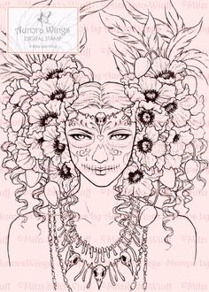 Heres a digital stamp for YOUR coloring & card-making fun! A striking dark fantasy image of a skull-painted Bone Queen, dressed in poppies, feathers, and bird skull jewelry. This line art is loaded with detail and makes for a challenging piece for colorists that is sure to test your skill and patience.  This digistamp was created from one of my hand-drawn illustrations. It is made available as a printable 300 dpi JPEG file (5 x 7 or 12.7 x 17.8 cm approx.). Watermarks will not appear on y...