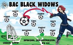 BAC Black Widows B53574  digitally printed vinyl soccer sports team banner. Made in the USA and shipped fast by BannersUSA.  You can easily create a similar banner using our Live Designer where you can manipulate ALL of the elements of ANY template.  You can change colors, add/change/remove text and graphics and resize the elements of your design, making it completely your own creation.