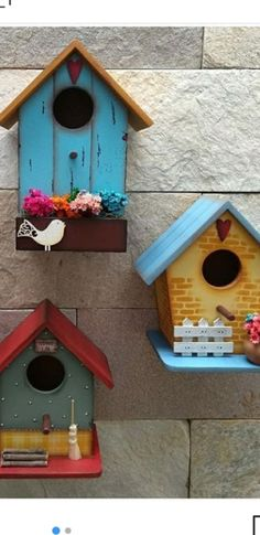 Decorative Bird Houses, Bird Houses Painted, Bird Houses Diy, Crafty Projects, Garden Projects, Diy Room Decor, Art Decor, Palm Tree Crafts, Crafts To Do