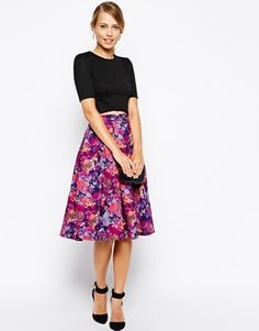 Oasis Rose Print Full Skirt