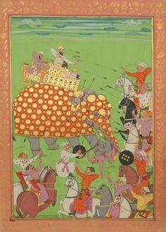 Murad Baksh, son of Shah Jahan, Mughal Empire Mughal Miniature Paintings, Mughal Paintings, Islamic Paintings, War Elephant, Indian Elephant, Sultan Murad, Elephant Images, Mughal Empire, India Art