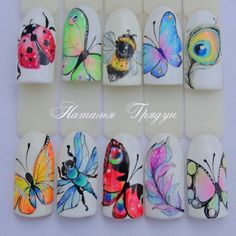 Butterfly and cie Fancy Nails, Crazy Nails, Cute Nails, Pretty Nails, Diy Nails, Butterfly Nail Designs, Butterfly Nail Art, Cute Nail Designs, Beautiful Nail Art