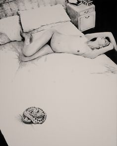When time sleeps_with snake_71x55 IN, Acrylic on untreated cotton, 2014