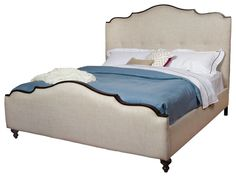 Yvonne French Country Curved Back Upholstered Queen Headboard Only transitional-headboards