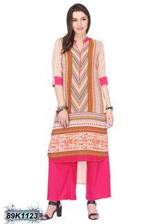 Trendy Multi Coloured Cambric Cotton Kurti