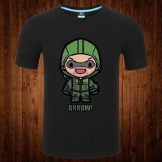 ROXINYUEHU Men's T Shirts Round Neck Short Sleeve Green Arrow T-shirt DTB002