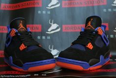 "Air Jordan retro 4 ""knicks"" colorway. I love ""loud"" colors on Jordans and the blue and orange on these sneakers really pop!"