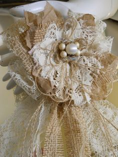 1 Large Handmade Paper Lace and Burlap Flower Bow by PapernLace, $25.00 #wedding…