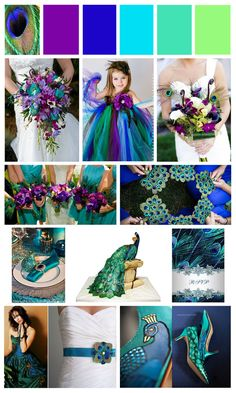 Weddbook ♥ peacock decor is bright,original and it looks very well with many colors and themes.There are many ways to integrate the peacock theme into the wedding decor.look at these fantastic flower girl dress, peacock designs and other accessories. Peacock Wedding Colors, Wedding Color Schemes, Purple Wedding, Dream Wedding, Wedding Day, Peacock Colors, Peacock Themed Wedding, Peacock Decor, Peacock Wedding Dresses