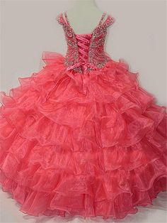 Zhiban Little Girls' beaded floor-length dresses beauty pageant ball gowns – BEAD Kids Pageant Dresses, Girls Dresses, Prom Dresses, Lace Dress For Kids, Floor Length Dresses, Beauty Pageant, Bridal, Formal Gowns, Beautiful Dresses