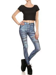 """Women's """"Cartoon Jeans"""" Leggings by Poprageous (Blue) #InkedShop #Leggings #jeans #style #fashion"""