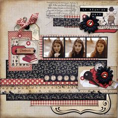 Love this style of scrapbooking Vintage Scrapbook, Scrapbook Paper Crafts, Scrapbook Albums, Scrapbook Cards, School Scrapbook Layouts, Scrapbook Layout Sketches, Scrapbooking Layouts, Digital Scrapbooking, Graphic 45