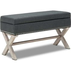 Polyester Upholstered Studded Storage Ottoman Grey | Buy Storage Ottomans