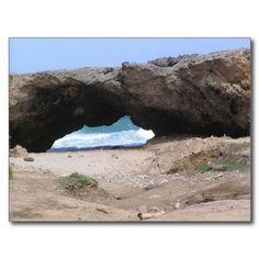 aruba, among the rocks into the sea