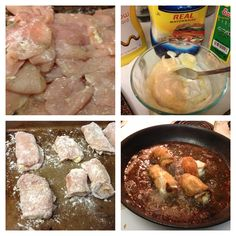 Mayo and mustard stuffed fried chicken fillet breasts