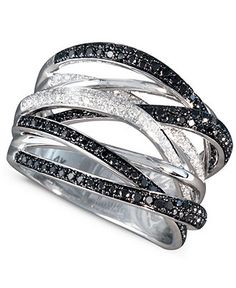 Caviar by EFFY Black and White Diamond Ring (3/4 ct. t.w.) in 14k White Gold - Rings - Jewelry & Watches - Macy's