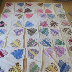 Vintage Quilt Blocks Appliqued BUTTERFLIES Wonderful Vintage Fabrics!