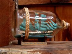 Vintage American Craft Handmade Ship in a Bottle - hobbyists model of the German three masted Barque ship built in 1906.