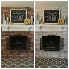 """Don't like your dark red fireplace? White-Wash the brick!! """"Super easy. You just water down paint and paint it on. I would paint a small section then wipe it off a bit with a rag. It took a couple hours. Not bad."""" -- Amber Dickey Photo Awesome job and a great way to lighten up a room and add a fresh look to an old fireplace. Thanks for sharing Amber!"""