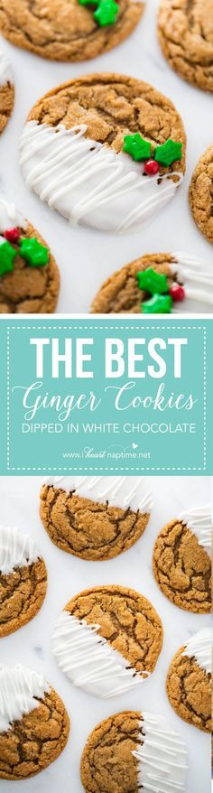 WHY DOES IT HAVE TO BE WHITE CHOCOLATE 😫 White Chocolate Dipped Gingerdoodles. so soft and full of flavor! Perfectly spiced to warm you up and add a festive twist on the favorite snickerdoodle cookie! Christmas Cooking, Christmas Desserts, Christmas Treats, Holiday Treats, Holiday Recipes, Christmas Recipes, Winter Recipes, Köstliche Desserts, Delicious Desserts