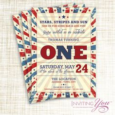 Items similar to Patriotic Vintage Memorial Day or July 4th Birthday Invitation, Printable Digital File OR Deposit Towards Printed Cards with Envelopes on ...