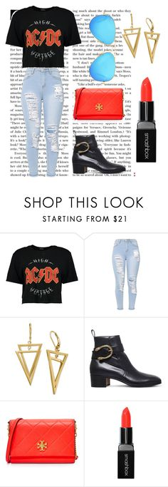 """""""Band t shirt contest!!!!!!!"""" by vallellilla ❤ liked on Polyvore featuring Boohoo, Gucci, Tory Burch, Smashbox and Ray-Ban"""