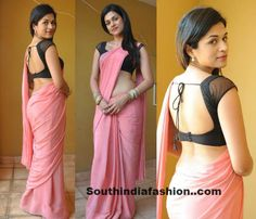 Shradda Das in Pink Crepe Saree ~ Celebrity Sarees, Designer Sarees, Bridal Sarees, Latest Blouse Designs 2014