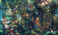 shop in tree, greeimm Bae on ArtStation at https://www.artstation.com/artwork/shop-in-tree