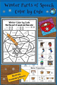 Practice identifying parts of speech using winter themed color by code sheets. Use illustrated vocabulary sheets to help ESOL students identify vocabulary used on the pages. #colorbycode #partsofspeech #vocabulary #eslvocabulary #esl #esol #holidayseason #tpt #teacherspayteachers #winter #winteriscoming #winterishere #winterwonderland