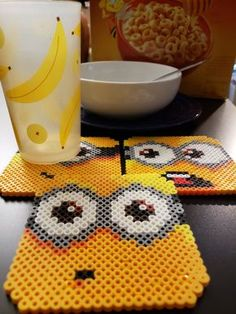 Minion Coasters Perler Bead (Set of by PerlerCreationsShop on Etsy - # 4 Set . - Minion Coasters Perler Bead (Set of by PerlerCreationsShop on Etsy – # - Perler Bead Designs, Hama Beads Design, Diy Perler Beads, Perler Bead Art, Pearler Beads, Hama Beads Coasters, Hama Coaster, Coaster Set, Melty Bead Patterns
