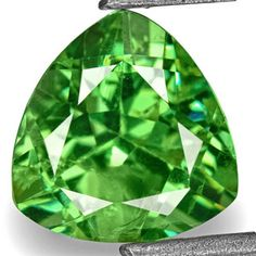1.22-Carat Trilliant-Cut Neon Green Demantoid Garnet