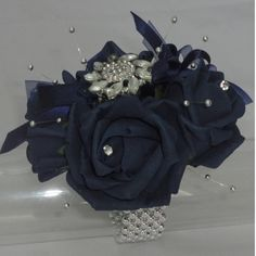 Dark Navy Blue Wrist Corsage  http://www.thefloraltouchuk.com/wrist-corsages.php