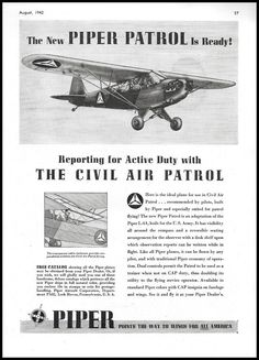 1947 PIPER PATROL adaptation of the L-4A Civil Air Patrol Aircraft Aviation AD Piper Aircraft, Civil Air Patrol, The Right Stuff, Modern History, Cold War, Military Aircraft, Airplanes, Civilization, Air Force