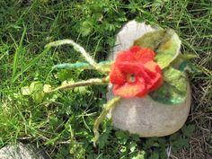 Felted flower,  felt primula flower broche. $25.00, via Etsy.