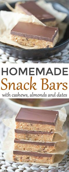 Gluten free Snack Bars packed with raw cashews and almonds, dates and coconut flour. Sweetened with honey and maple syrup and topped with a delicious layer of dark chocolate!