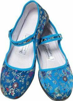 Amazon.com: azul brocado de seda Mary Jane Shoes Zapatos chinos: